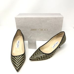 Jimmy Choo Aza Woven Leather Kitten Heels Pumps 7